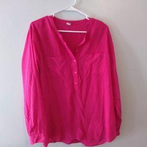 Hot pink semi sheer blouse